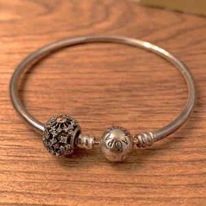 PANDORA Silver Bangle Bracelet and Charm